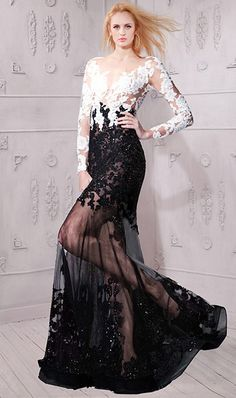Amazing sheer illusion tow tone long sleeves black white color block lace dress inspired by Ayem Nour Multi-Color Dresses Gold Prom Dresses, Prom Dresses 2018, Prom Dresses With Sleeves, Prom Dresses For Sale, Sexy Dresses, Sleeve Dresses, Prom Dreses, Formal Dresses, Graduation Dresses