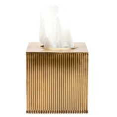 """Pigeon & Poodle's Redon collection fuses vintage and industrial styles. This edgy Art Deco-inspired tissue box offers intriguing ridged texture with an antique brass finish. Wipe down with soft, dry cloth to clean; Due to handmade quality, natural variations may occur; 5.5""""W x 5.5""""L x 5.5""""H"""