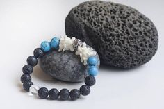 snake vertebrae lava crystal and turquoise beads bracelet