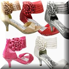 Are you sourcing high heels for kids? Look no further than this page to grab a cool one for girls to attend approaching princess party. There are countless choices available in market place. In this page, you'll find pretty high heels in girls' favorite color which is pink and first choice color for little bridesmaid which is white. On top of that, silver and black color high heels also available for you to choose from. Note: Image of Girls' Ankle Wrap High Heel Glitter Dress ...