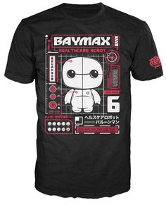 """This Funko Pop! Tee features Baymax from Big Hero 6 styled as a Funko Pop on a black printed, short sleeve unisex t-shirt with red and white colors. The caption on this blueprint themed design reads """"Baymax - Healthcare Companion"""". It comes in a collectible window box. #nesteduniverse"""