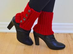 Spats, Boot Cuffs, Red, with Buttons, Crochet, Ankle Warmers, Womens, Unique, Leg Warmers
