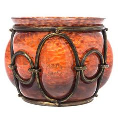 Blown-Out Glas and Gilt iron mounted Bowl. Signed Andre DeLatte/ Nancy, France, circa 1900.