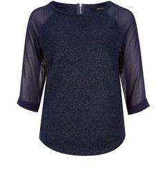 New Look Navy Fine Knit Chiffon Sleeve Top €23