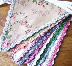 Crochet edging fabric bunting - inspiration