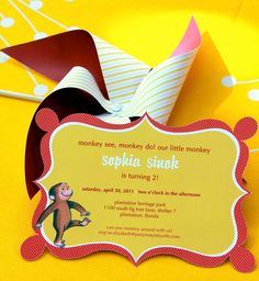 Gorgeous Curious George Birthday Invitation by PartyInStylebyelle, $50.00
