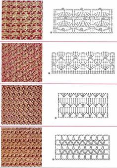 Mis telas de ganchillo y dos agujas (palos): Patrones de ganchillo (Diagramas) - Крючок - Crochet Stitches Chart, Crochet Symbols, Crochet Motifs, Granny Square Crochet Pattern, Crochet Diagram, Knitting Stitches, Crochet Patterns, Crochet Shirt, Diy Crochet