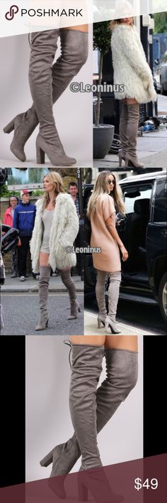Over-the-Knee Boots gray Gorgeous gray tall boots. Over the knee on most. Drawstring top. Faux suede. Seller not responsible for fit nor comfort. Brand new retail. No trades, no off App transactions or negotiations. 📫📦SHIPS WEDNESDAY  ❗️PRICE IS FIRM UNLESS BUNDLED❗️ Leoninus Shoes Over the Knee Boots