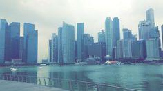 Marina Bay skyline, Singapore.