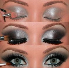 My usual eye look haha(: Silvery blue with a shimmery black smokey eye blow out, looks great with my hazel eyes!