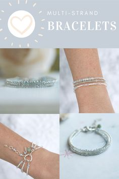 Three strands of shimmering whites, muted pastels and sparkling crystals finished with an Amazonite charm and a handmade extender chain. This is a minimalist bracelet stack inspired by the colours and textures of shabby chic style. #handmadegifts #stackingbracelet #handmadebracelet #handmadejewelry #statementbracelet #elegantjewelry #braceletstack #beadedbracelet #etsyjewelry #layeredbraceletsforwomen #cutebracelet #shabbychicstyle #shabbychicjewelry