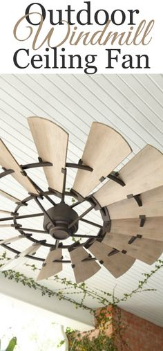 "Aluminum ceiling fan with weathered oak blades. 60""Dia. x 16.5""T (from bottom of hub to ceiling with 6""L downrod); 6""Dia. ceiling canopy.  Ceiling Fan, Back Porch, Farmhouse Style, Rustic, Windmill -Sponsored"