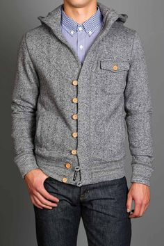This men's button down jacket is a nice take off of a traditional bomber jacket. The buttons are a really nice accent.