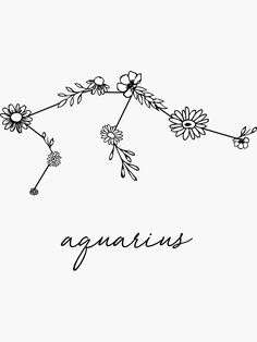 """Aquarius Zodiac Wildflower Constellation"" Stickers by aterkaderk Constellation Piercings, Aquarius Constellation Tattoo, Aquarius Tattoo, Zodiac Signs Aquarius, Aquarius Astrology, Mini Tattoos, Small Tattoos, Aquarius Aesthetic, Handpoke Tattoo"