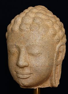 Head of Buddha. Sandstone. Khmer, Angkor Borei, 7th century. 20 cm. Asia Week New York | Buddhist Art