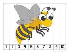 Puzzle per enganxar a 10 pals de polo. Math Numbers, Learning Numbers, Kindergarten Activities, Preschool Activities, Puzzles Numeros, Insect Activities, Puzzle Games, Bee Crafts, Bugs And Insects
