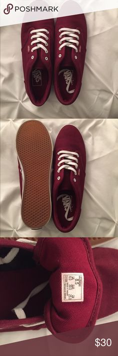 NWOT Maroon Vans size 8.5 women's NWOT Maroon Vans size 8.5. Have never been worn and are just collecting dust. Come from a smoke free, pet free home! Vans Shoes