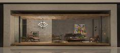 O Pavilhão de Entrada, do arquiteto Otto Felix, destaca o conceito de Mies Van Der Rohe e homenageia a arquitetura moderna. Para criar uma fachada dentro do shopping optou por fazer uma caixa de gesso revestida com tecno cimento, fornecido e instalado pelo Ateliê Revestimentos. Dentro da caixa foi construída uma estrutura metálica, suspensa do chão e rebaixada do teto com forro de gesso também executado pelos profissionais do Ateliê, revestida com taco de madeira cumaru.