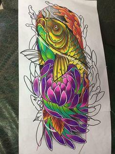 Japanese Tattoo Designs, Japanese Tattoo Art, Japanese Sleeve Tattoos, Pez Koi Tattoo, Carp Tattoo, Badass Tattoos, Body Art Tattoos, Flor Oriental Tattoo, Koi Art