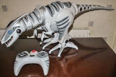 "WowWee RoboRaptor Remote Control White Dinosaur 32"" Long w/ Remote Fully Working"