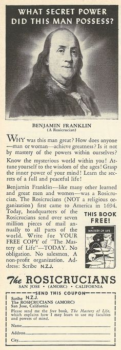 1962 ad: What Secret Power did Benjamin Franklin (a Rosicrucian) Possess?