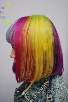 We've gathered our favorite ideas for Rainbow Bob Hair Hair Colors Ideas, Explore our list of popular images of Rainbow Bob Hair Hair Colors Ideas in short rainbow hair color. Golden Brown Hair Color, Bold Hair Color, Brown Blonde Hair, Bright Hair, Brown Hair Colors, Hair Colours, Neon Hair, Pastel Hair, Short Rainbow Hair