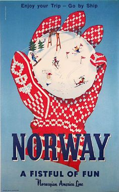 Vintage Norwegian Travel Posters With Illustrated Snowballs That We Like.