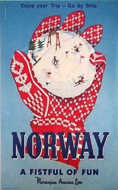 Vintage Norwegian travel poster.