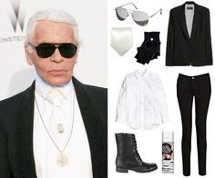 "The Lazy Girl's Guide to the 10 Best 2014 Pop Culture Halloween Costumes – Mafalda Machado The Lazy Girl's Guide to the 10 Best 2014 Pop Culture Halloween Costumes 10 Best 2014 Pop Culture Halloween Costumes – Karl Lagerfeld (aka ""Kaiser Karl"") from Hallowen Costume, Pop Culture Halloween Costume, Halloween Outfits, Halloween Diy, Karl Lagerfeld, Last Minute Kostüm, Halloween Kleidung, Style Icons, Dress Up"