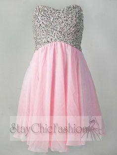 Dazzling Pink Sequin Top Short Cutout Back Strapless Prom Dress [Pink Sequin Top Short Dress] - $158.00 : Cheap Prom Dresses, Homecoming Dresses, Bridesmaid Dresses at DreamingProm