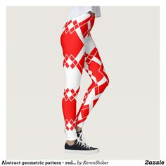 Abstract geometric pattern - red and white. White Leggings, Women's Leggings, Christmas Leggings, Workout Leggings, Lady In Red, Red And White, Abstract, Pattern, Pants
