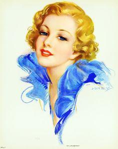 beautiful blonde pin up art by Jules Erbit Vintage Pictures, Vintage Images, Vintage Art, Vintage Ladies, Portrait Art, Portraits, Rolf Armstrong, Digital Painting Tutorials, Art Textile