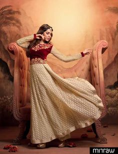 beautiful cream and maroon colored anarkali suit