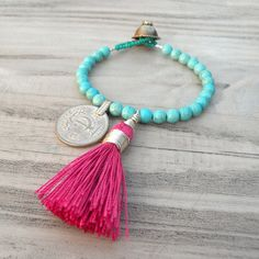 Gypsy Mala Bracelet   Turquoise Stone with Pink Tassel by Gypsy Intent