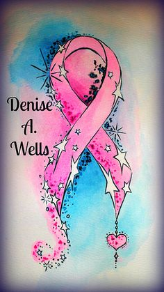 Watercolor Tattoo Awareness Ribbon by Denise A. Wells