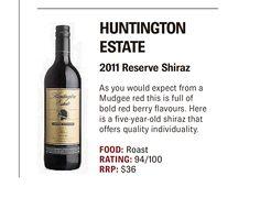 Huntington Estate Special Reserve Shiraz, Queensland Times, Sept 2015