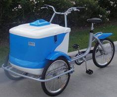 Bike push cart... Awesome Idea...  Thermototal ice cream vending carts are great for street vending or special events. i am also thinking great way to ride bikes to park and still have a cooler with you. cool idea. :)