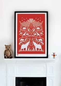 Noah's Ark in Poppy Red - decorative screen print on Etsy, £43.55