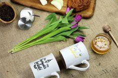 Coffee mug, honey & flowers. Photography composition for Borough Brand | Milwaukee, WI www.boroughbrand.com