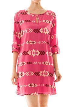Aztec Printed Shift Dress