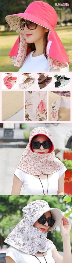 Women Face Neck Sunscreen Wide Brim Beach Hat Double-side Flower Printed Outdoor Gardening Caps