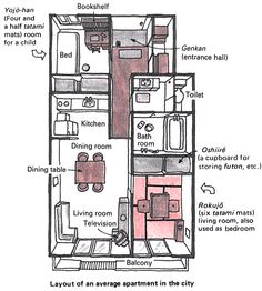 Example of japanese apartment for family of videos i've seen show apartments a half or quarter of this size! from: jnto. Japanese Apartment, Japanese Bedroom, Japanese Interior, Japanese Design, The Plan, How To Plan, Architecture Design, Japanese Architecture, Cultural Architecture