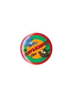 Pin from The Simpsons with an Itchy & Scratchy Show logo.