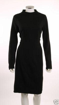 ANNE KLEIN II BLACK LONG SLEEVE HIGH NECKLINE DRESS NO LABEL