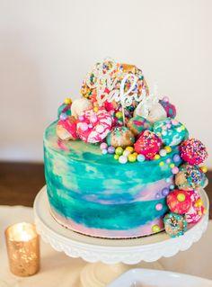 Donut cake, watercolor cake