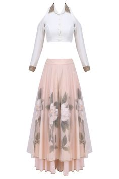 White pearl embroidered crop top with peach floral handpainted sharara pants available only at Pernia's Pop Up Shop.
