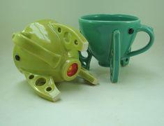 Rocket ship coffee mugs by Keith Lehman of the Poplar Studio. Coffee Mugs, Pottery, Ship, Studio, Tableware, Design, Ceramica, Dinnerware, Coffee Cups