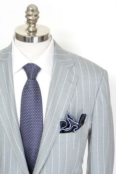 Light & formal, in this Kiton gray striped micron wool silk suit! | Find yours! http://www.frieschskys.com/shop-kiton | #frieschskys #mensfashion #fashion #mensstyle #style #moda #menswear #dapper #stylish #MadeInItaly #Italy #couture #highfashion #designer #shopping
