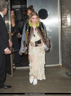 - Mary-Kate & Ashley arrive & leave the Met Gala After Party at the Boom Boom Room, NYC - 678892161 28329 - OlsensObsessive.Com Gallery // Your number one resource for everything Mary-Kate and Ashley Olsen Olsen Twins Style, Mary Kate Ashley, Ashley Olsen, Party Dress, Kimono Top, White Dress, Nyc, Sari, Tops