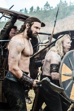 "Mmmm...nice. I love the Vikings pics from the tv show. Rollo played by Clive Standen...best arm in the Universe! Photo: ""The Vikings,"" History Channel, Season 2, Episode 1, fight scene ""Brothers Battle."""